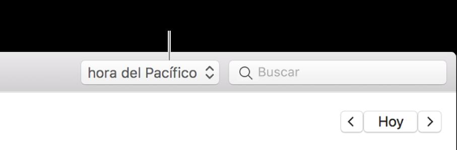 El menú de zona horaria aparece a la izquierda del campo de búsqueda cuando activas el soporte de zona horaria