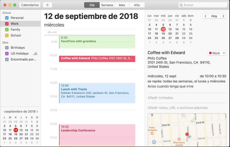 Una ventana de Calendario en la vista Día donde se muestran los calendarios personal, de trabajo y familiar con códigos de colores en la barra lateral bajo la cabecera de la cuenta de iCloud y otro calendario bajo la cabecera de la cuenta de Exchange.