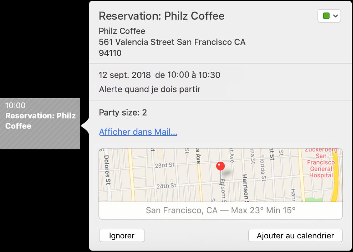 La fenêtre Calendrier avec un événement trouvé dans une app, telle que Mail.