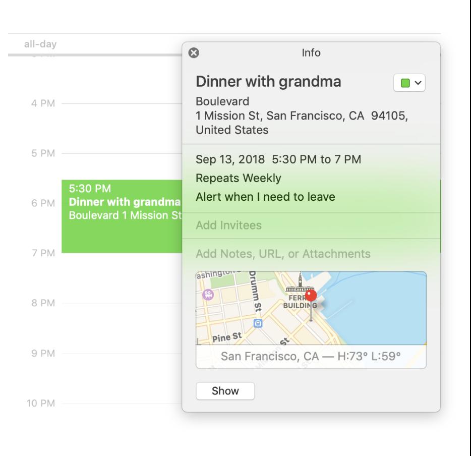 위치 이름과 주소 및 소형 지도를 보여주는 이벤트의 정보 윈도우.