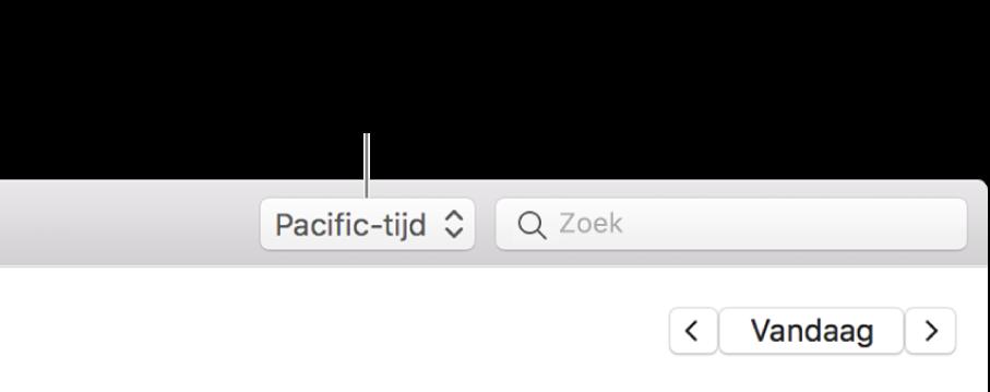 Het menu met tijdzones verschijnt links van het zoekveld als je ondersteuning voor tijdzones inschakelt