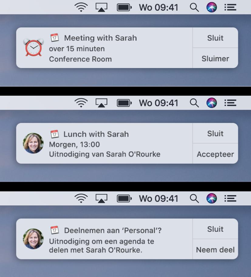 Meldingen voor Agenda-uitnodigingen hebben knoppen aan de rechterkant: 'Sluit' en 'Accepteer' of 'Sluit' en 'Bekijk' voor een activiteit en 'Sluit' en 'Neem deel' voor een gedeelde agenda