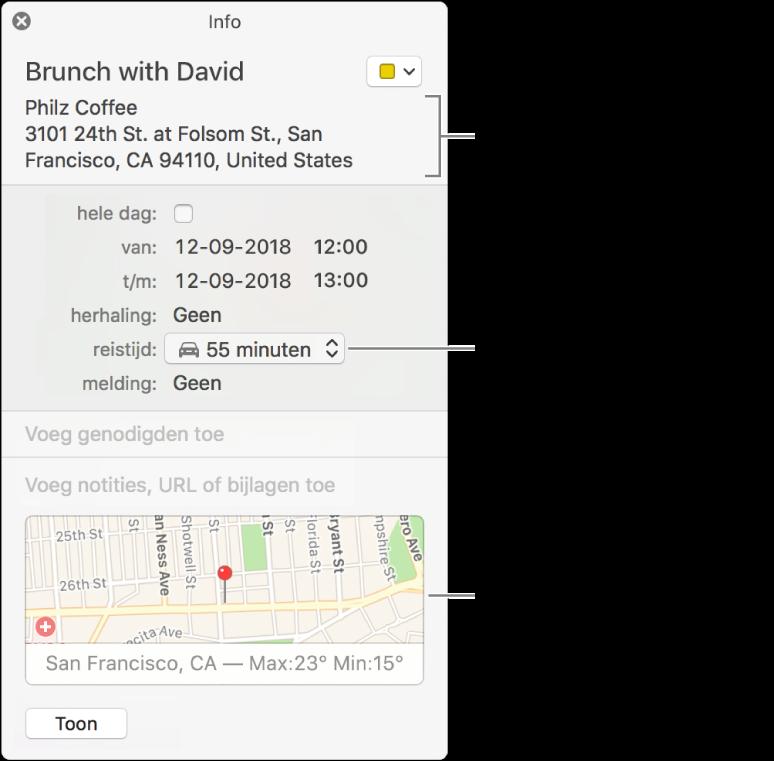 Infovenster voor een activiteit, met de aanwijzer op het venstermenu 'Reistijd'. Kies een reistijd uit het venstermenu. Klik op de locatie om deze te wijzigen. Klik op de kaart voor een routebeschrijving