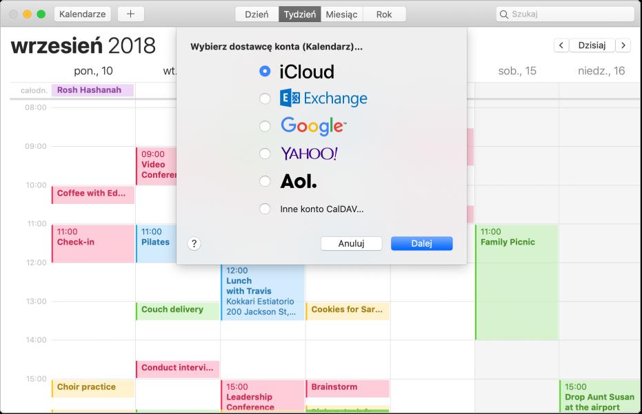 Okno Kalendarza zpanelem dodawania konta.