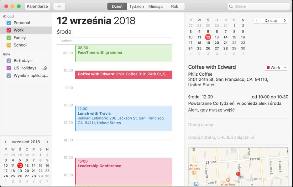 Okno Kalendarza wwidoku dnia zkalendarzami prywatnym, służbowym irodzinnym wodpowiednich kolorach, na pasku bocznym pod nagłówkiem iCloud oraz innym kalendarzem pod nagłówkiem Exchange.