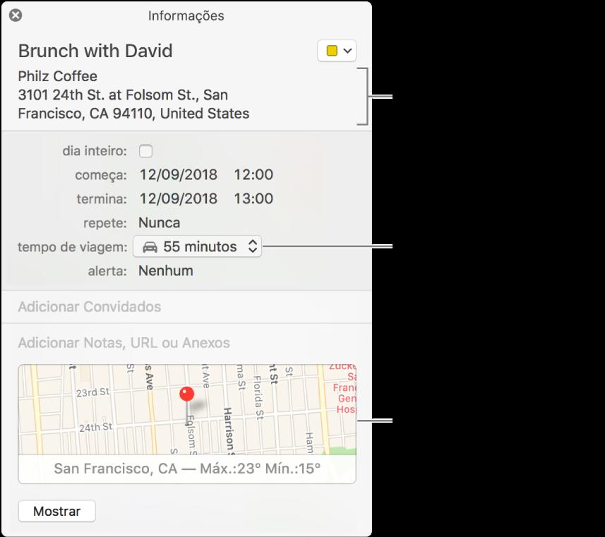 """Janela de informações de um evento com o cursor sobre o menu local """"Tempo de Viagem"""". Escolha um horário de viagem no menu local. Clique na localização para alterá-la. Clique no mapa para obter itinerários"""