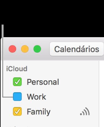 Selecione a opção correspondente a um calendário para ver todos os respetivos eventos.