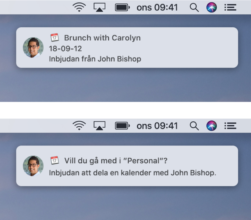 Banderoller för notiser för Kalender-inbjudningar har inte knappar till höger