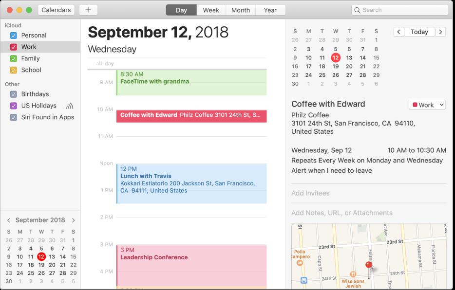 「日」檢視區的「行事曆」視窗在側邊欄顯示了 iCloud 帳號標題下以顏色標示的個人、工作及家庭行事曆,以及 Exchange 帳號標題下的另一個行事曆。