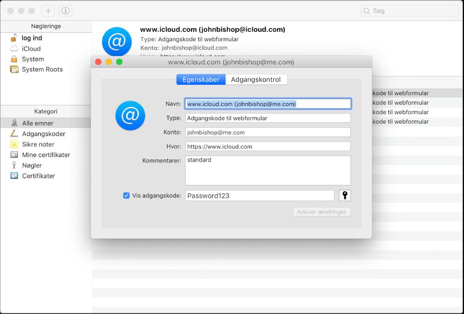 Dialog, der beder om bekræftelse før arkivering af en adgangskode.
