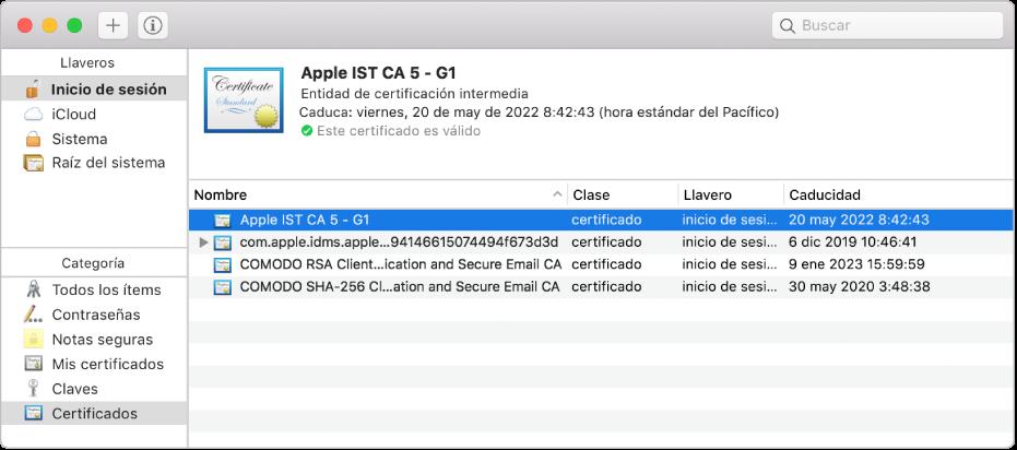 Ventana de Acceso a Llaveros con certificados.