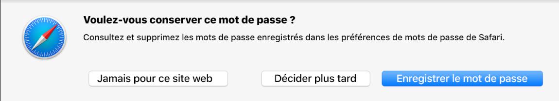Zone de dialogue demandant si vous souhaitez enregistrer votre mot de passe.