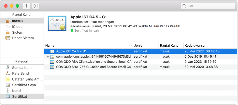 Jendela Akses Rantai Kunci menampilkan sertifikat.