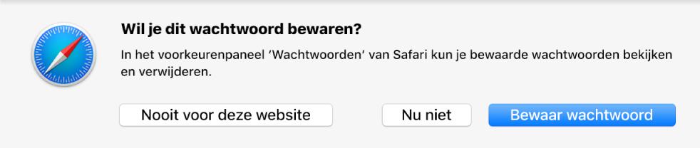 Dialoogvenster met de vraag of je je wachtwoord wilt bewaren.