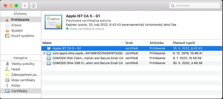 Okno aplikácie Kľúčenka zobrazujúce certifikáty.