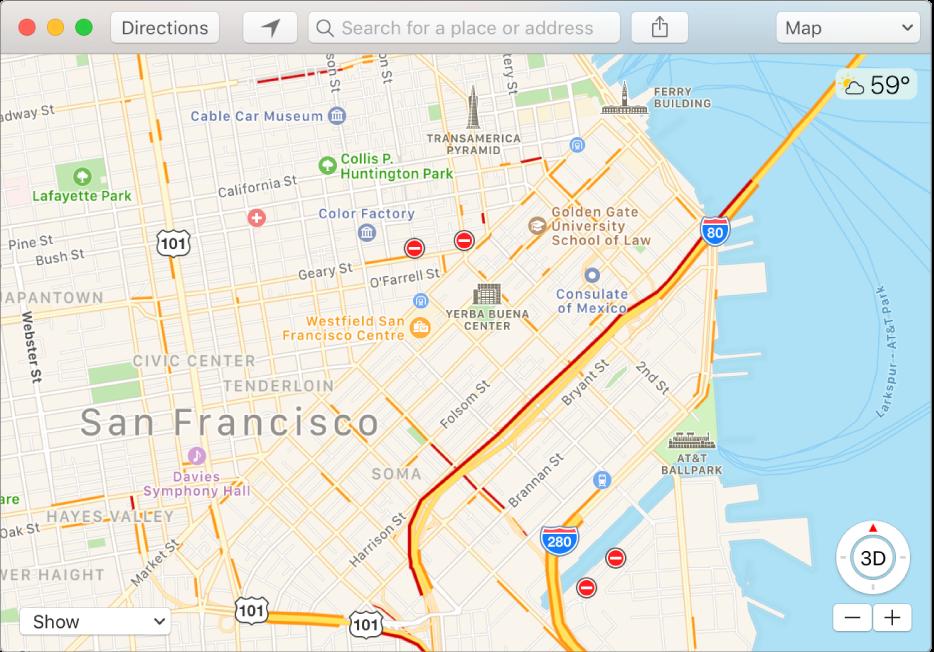 نافذة تطبيق الخرائط تُظهر حالات حركة المرور باستخدام أيقونات على الخريطة.