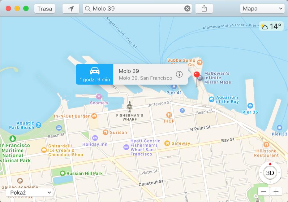 Okno informacji opinezce na mapie, zawierające adres danego miejsca oraz szacowany czas podróży zTwojej bieżącej lokalizacji.