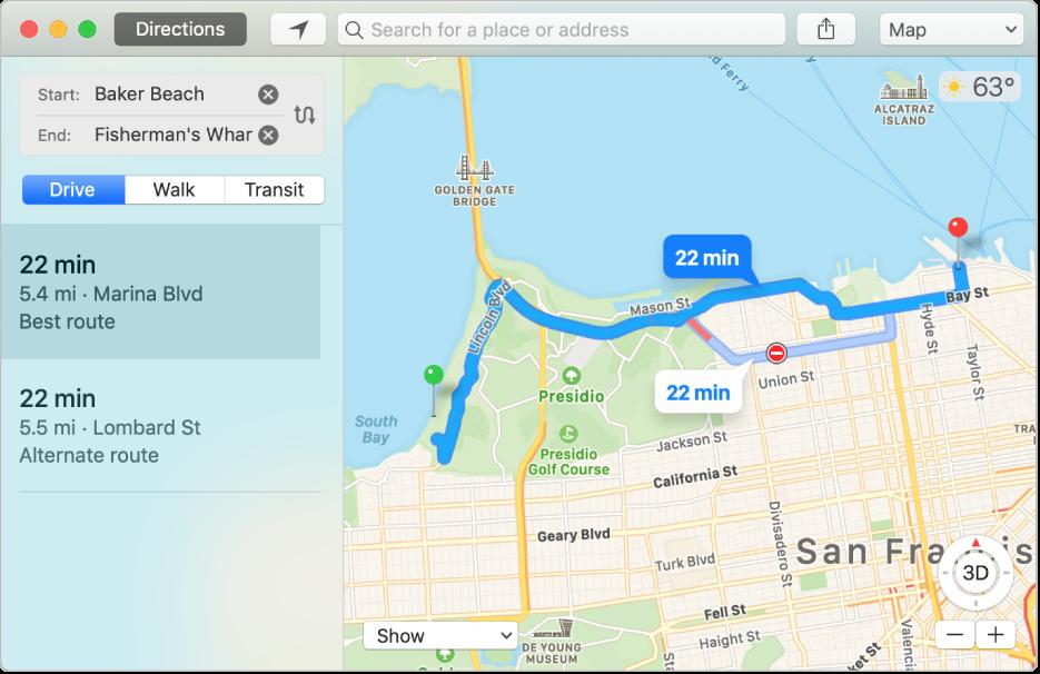 """显示到目的地路线的""""地图""""窗口。"""