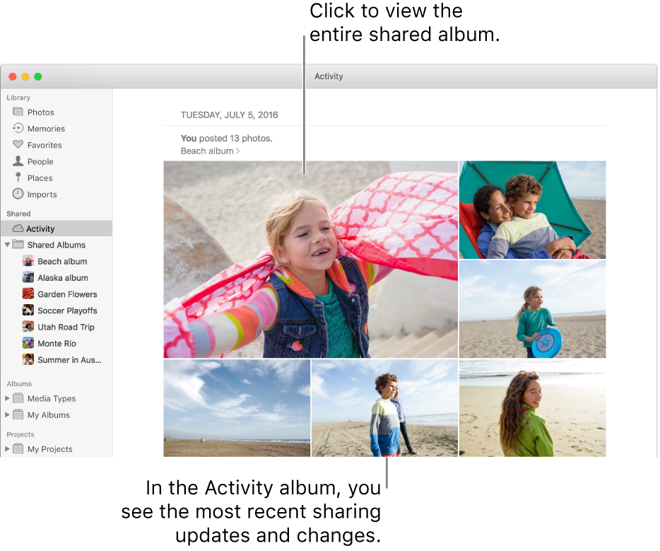 The Photos window with the Activity album displayed.