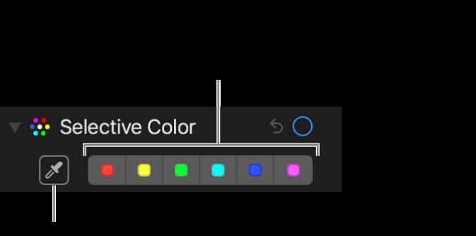 A Szelektív szín vezérlői a Pipetta gombbal és színrekeszekkel.