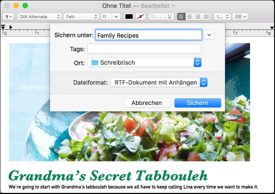 """Das Dialogfenster """"Sichern"""" mit dem Einblendmenü """"Dateiformat"""" unten"""