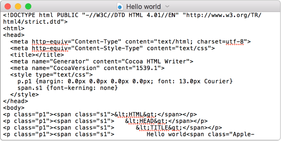 En HTML-fil i koderedigeringsmodus.