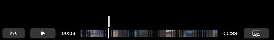 Ovládací prvky pro přehrávání na TouchBaru. Nalevo je tlačítko Přehrát/Pozastavit avedle něj přehrávací hlava, jejímž přetažením můžete vsouboru přejít na libovolné místo. Vlevo od přehrávací hlavy je uveden uplynulý čas anapravo zbývající čas klipu
