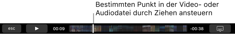 Die Wiedergabesteuerungen in der Touch Bar Die Wiedergabetaste ist links, daneben befindet sich die Abspielposition, die du bewegen kannst, um zu einem bestimmten Punkt in der Datei zu gelangen Links neben der Abspielposition wird die bereits verstrichene Zeit und rechts die noch verbleibende Spieldauer angezeigt