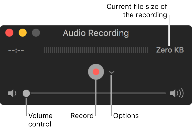 The Audio Recording window with the Record button and the Options pop-up menu in the centre of the window, and the volume control at the bottom.