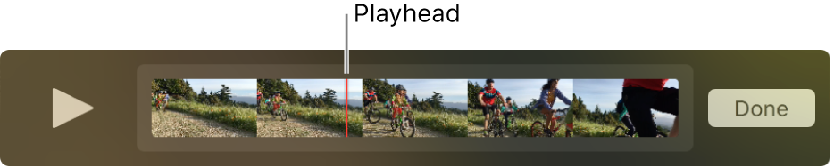 A clip in the QuickTime Player window, with the playhead near the center of the clip.