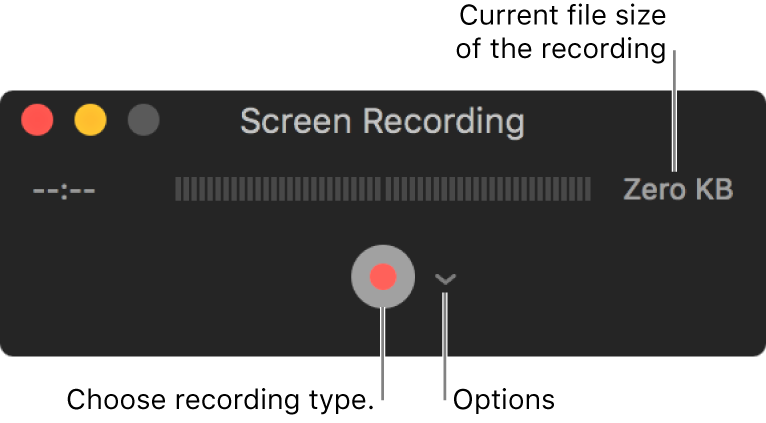 Screen Recording window with the Record button at the bottom and the Options pop-up menu next to it.