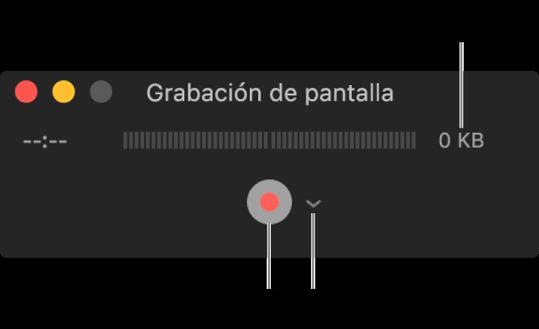 """La ventana """"Grabación de pantalla"""" con el botón Grabar en la parte inferior junto al menú desplegable Opciones."""