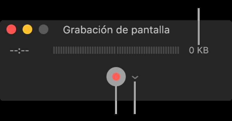 """Ventana """"Grabación de pantalla"""" con el botón Grabar en la parte inferior y el menú desplegable Opciones al lado."""