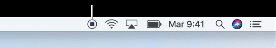 El botón Detener en la barra de menús.