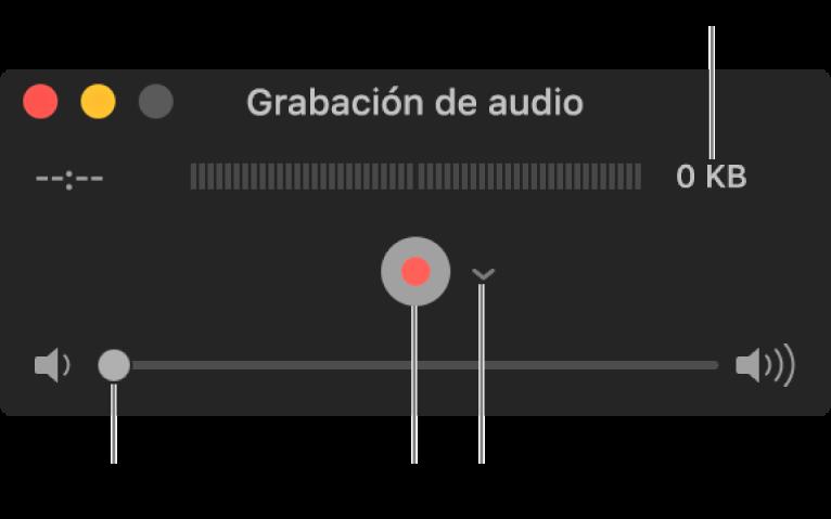 La ventana de grabación de audio con el botón Grabar y el menú desplegable Opciones en el centro de la ventana, y el control de volumen en la parte inferior.