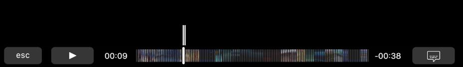 Les commandes de lecture dans la TouchBar. Le bouton Lecture/Pause est à gauche, à côté de la tête de lecture que vous pouvez déplacer pour accéder à un moment précis du fichier. À gauche de la tête de lecture s'affiche le temps écoulé, et à droite le temps restant.