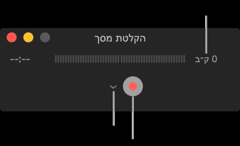 """החלון """"הקלטת מסך"""" עם הכפתור """"הקלט"""" בחלקו התחתון והתפריט הקופצני """"אפשרויות"""" לידו."""