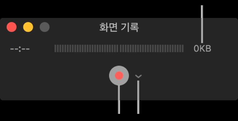 옆에 있는 옵션 팝업 메뉴 하단에 기록 버튼이 표시되어 있는 화면 기록 윈도우.