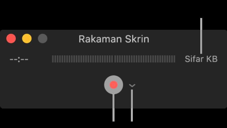 Tetingkap Rakaman Skrin dengan butang Rakam di bahgian bawah dan menu timbul Pilihan bersebelahannya.