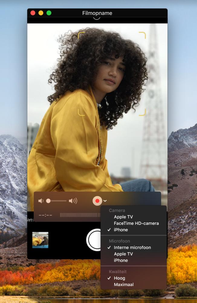 Het venster van QuickTime Player terwijl met een iPhone een opname wordt gemaakt.