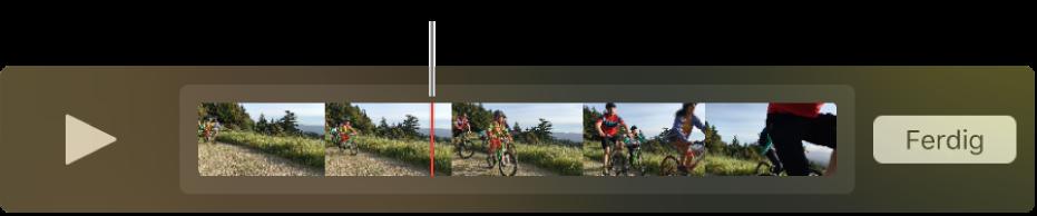 Et klipp i QuickTime Player-vinduet med spillehodet nesten i midten av klippet.