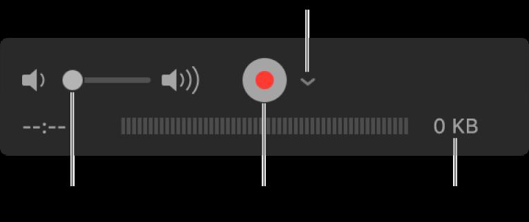 Narzędzia nagrywania, wtym narzędzia głośności, przycisk nagrywania oraz menu podręczne opcji.