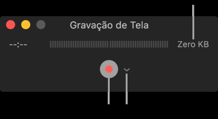 Janela da Gravação de Tela com o botão Gravar na parte inferior e o menu local Opções ao lado.