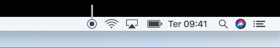O botão Parar na barra de menus.