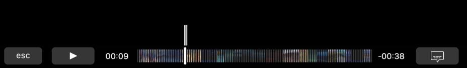 Comenzile de redare din Touch Bar. Butonul Redare/Suspendare se află în partea stângă, iar alături de acesta se află capul de redare, pe care îl puteți trage către un anumit punct din fișier. În partea stângă a capului de redare se află timpul scurs, iar în partea dreaptă se află timpul rămas.