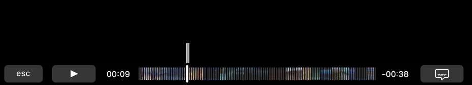Элементы управления воспроизведением на панели Touch Bar. Слева находится кнопка воспроизведения/паузы, а рядом с ней расположен указатель воспроизведения, который можно перетянуть для перехода к определенной точке в файле. Слева от указателя воспроизведения показано прошедшее время, а справа— оставшееся время.