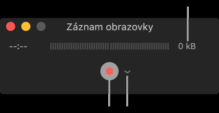 Okno Záznam obrazovky stlačidlom Nahrávať vdolnej časti avyskakovacím menu Možnosti vedľa neho.