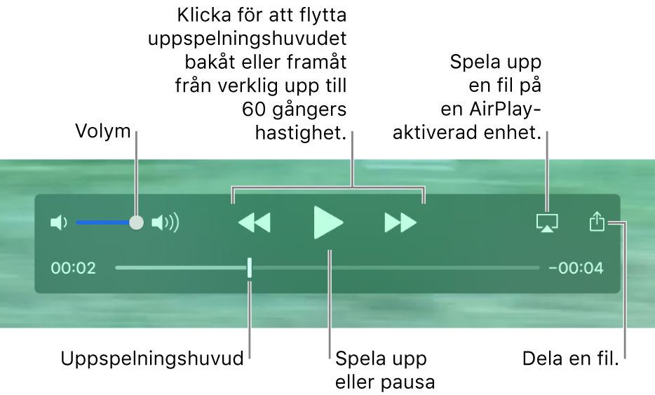 Uppspelningsreglage i QuickTime Player. Längs överkanten finns volymreglaget, knappen för bakåtspolning, knappen för uppspelning/paus, knappen för snabbspolning framåt, AirPlay-knappen och delningsknappen. Längst ned finns uppspelningshuvudet som du kan dra i för att ändra plats i filen.