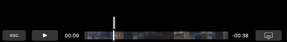 ตัวควบคุมการเล่นใน Touch Bar ปุ่มเล่น/หยุดพักอยู่ทางซ้าย และถัดจากนั้นคือตัวชี้ตำแหน่ง ซึ่งคุณสามารถลากไปที่จุดที่ระบุเฉพาะในไฟล์ได้ ทางซ้ายของตัวชี้ตำแหน่งคือเวลาที่ผ่านไป และทางขวาคือเวลาที่เหลืออยู่