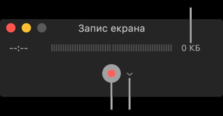 Вікно «Запис екрана» із кнопкою «Записати» внизу та спливним меню «Параметри» поруч із нею.